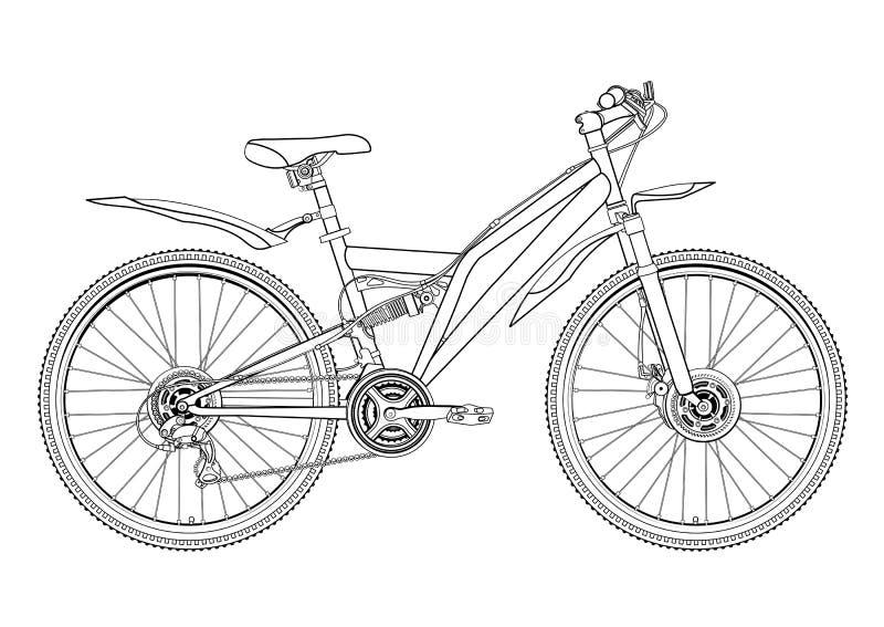 Tekening van de fiets de vectorcontour, zwart-wit, zwart-witte schets, silhouet, kleuringsboek De fiets helft-gezicht van het ove vector illustratie