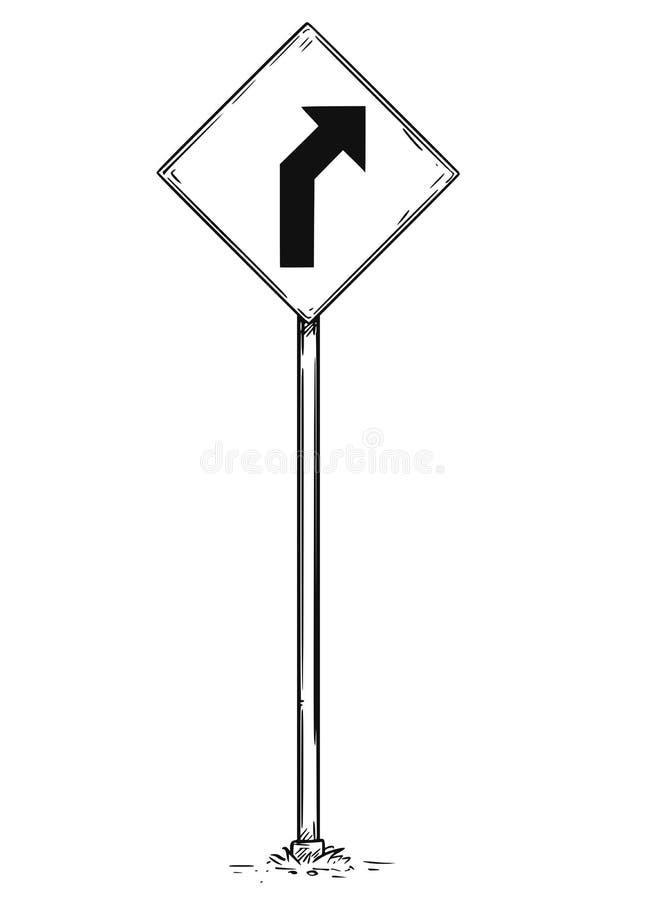 Tekening van de Gebogen Verkeersteken van de Wegpijl royalty-vrije illustratie