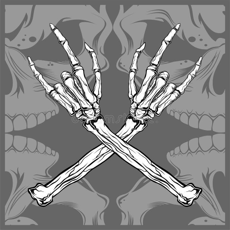 Tekening van de het metaal de vectorhand van de schedelhand royalty-vrije illustratie
