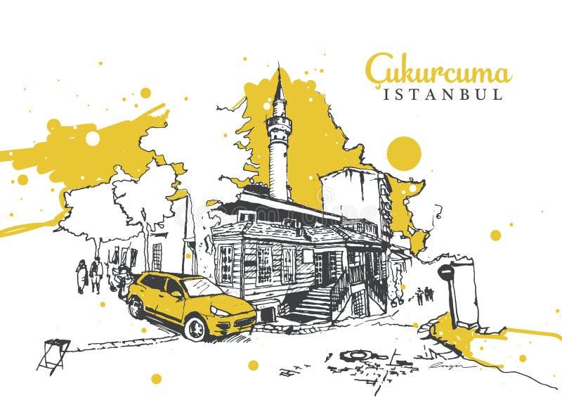 Tekening van de Moskee Muhiddin Molla Fenari in Cukurcuma stock illustratie
