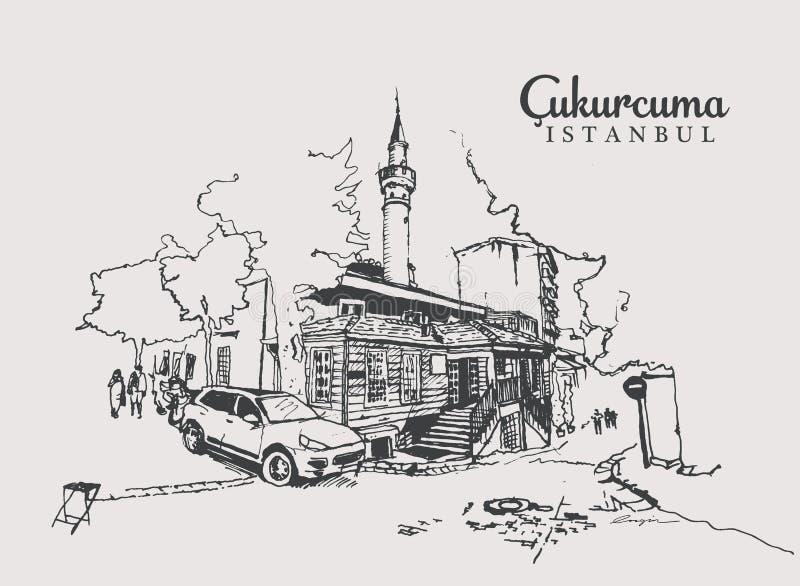Tekening van de Moskee Muhiddin Molla Fenari in Cukurcuma royalty-vrije illustratie