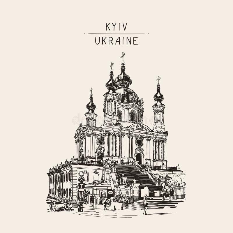 Tekening van de orthodoxe kerk van Heilige Andrew door Rastrelli in Kyiv Ki vector illustratie