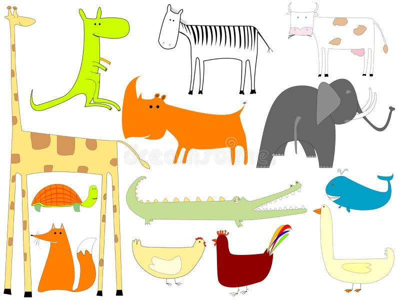 Tekening van dieren die op witte achtergrond worden geïsoleerde royalty-vrije illustratie