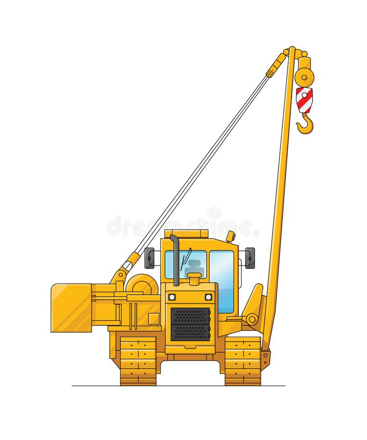Tekening van een bouwkraan Illustratie van speciaal materiaal Reeks pictogrammen Verbazende illustratie voor website, druk en stock illustratie
