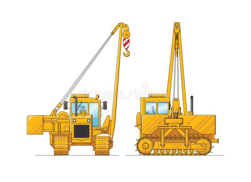 Tekening van een bouwkraan Illustratie van speciaal materiaal Reeks pictogrammen Verbazende illustratie voor website, druk en royalty-vrije illustratie