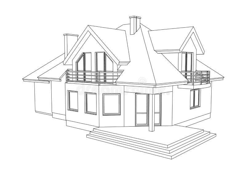 Super Tekening van een huis stock illustratie. Illustratie bestaande uit QU-44