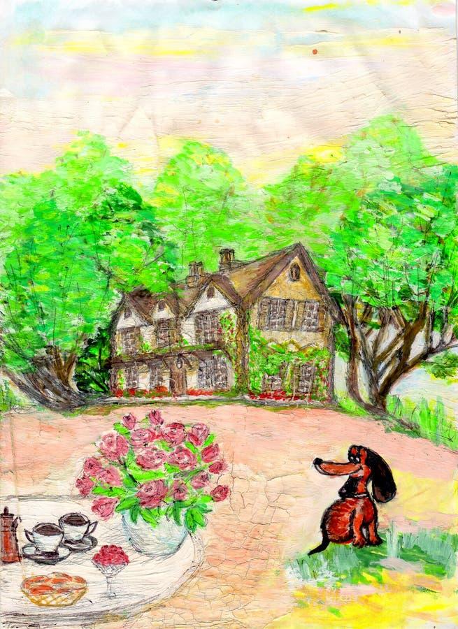 Tekening van een huis en het gazon voor het huis royalty-vrije stock foto's