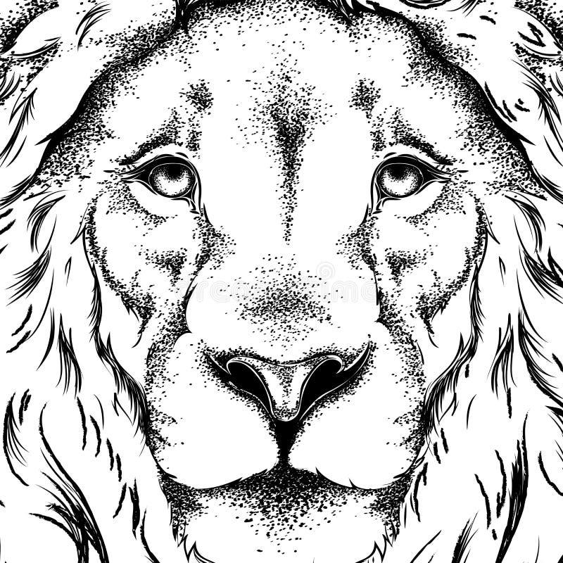 Tekening van een leeuw` s hoofd Grafisch ontwerp van de dekking Malplaatje voor registratie Vector illustratie royalty-vrije illustratie