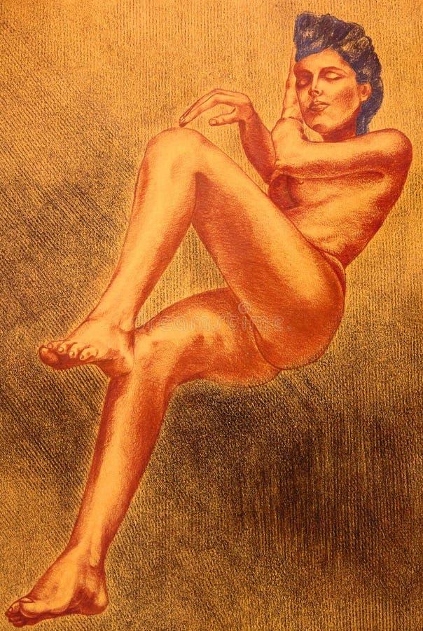Tekening Van Een Naakte Vrouw Stock Afbeeldingen