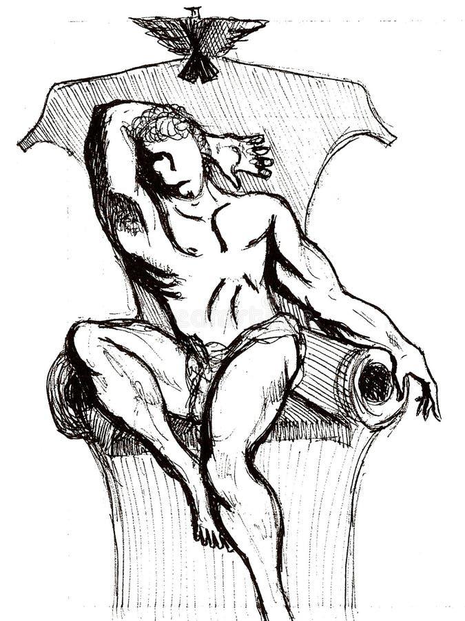 Tekening van een prinszitting op de troon royalty-vrije illustratie