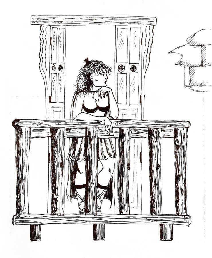 tekening van een vrouw in oud Rome royalty-vrije illustratie