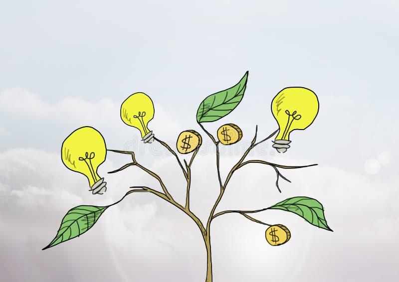 Tekening van Geld en ideegrafiek op installatietakken op muur royalty-vrije illustratie