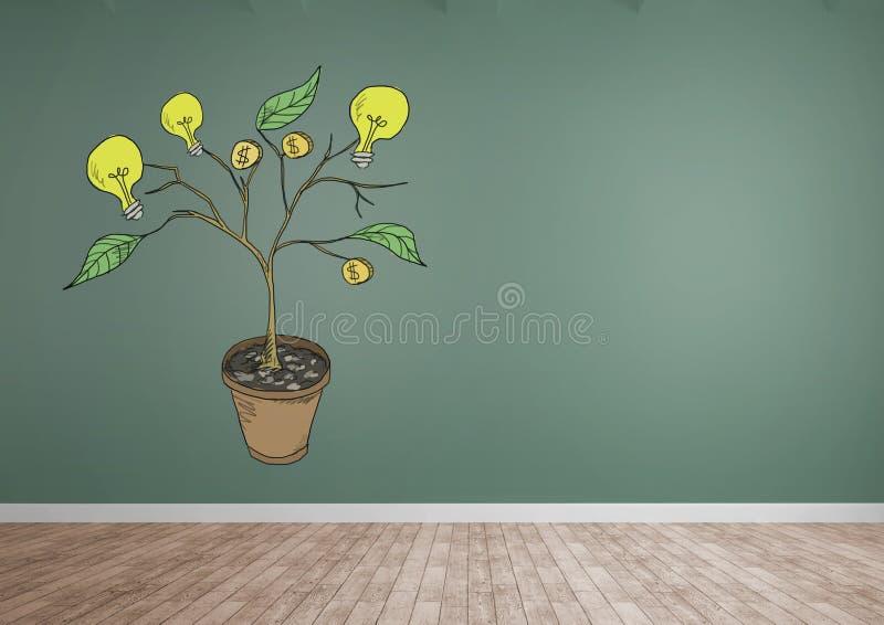 Tekening van Geld en ideegrafiek op installatietakken op muur stock illustratie