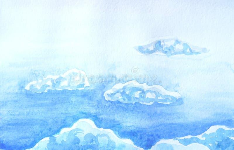 Tekening van heldere hemel, witte pluizige wolken stock illustratie