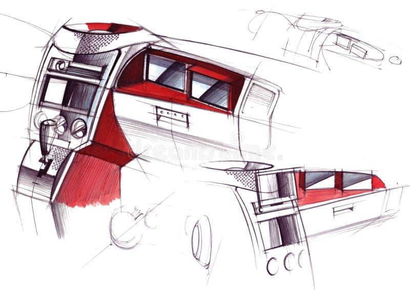 Tekening van het exclusieve binnenlandse ontwerp van de auto met de uitwerking van alle elementen van de moderne passagier royalty-vrije illustratie