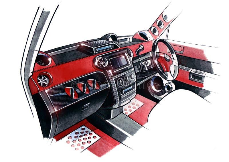 Tekening van het exclusieve binnenlandse ontwerp van de auto met de uitwerking van alle elementen van de moderne passagier stock illustratie