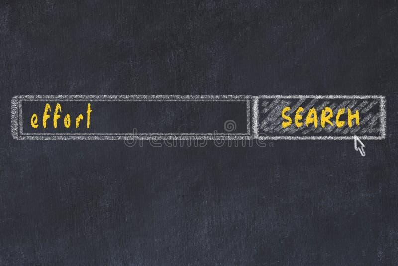 Tekening van het karton van onderzoeksbrowser venster en inscriptie inspanning royalty-vrije stock afbeelding