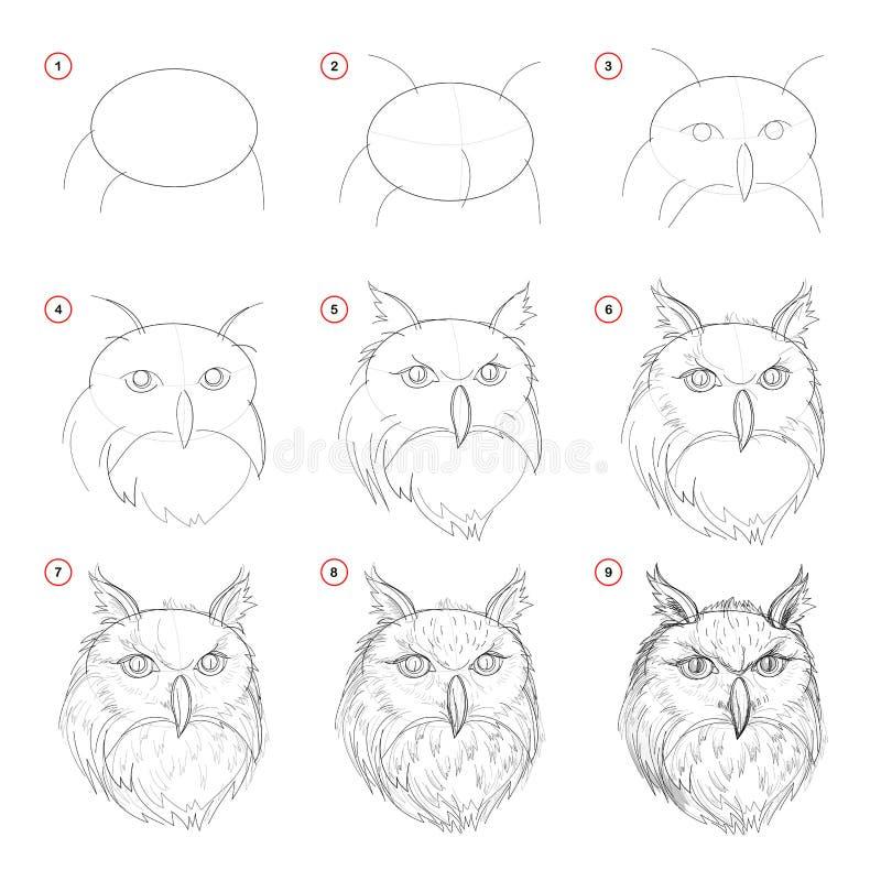 Tekening van het verwezenlijkings de geleidelijke potlood De pagina toont aan hoe leer om schets van denkbeeldig uilenhoofd te tr stock illustratie
