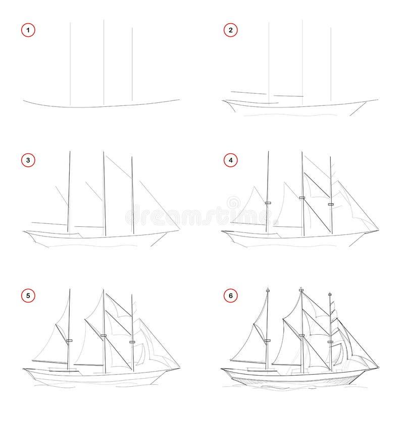 Tekening van het verwezenlijkings de geleidelijke potlood De pagina toont hoe te leren schets van denkbeeldig drie-masted varend  stock illustratie