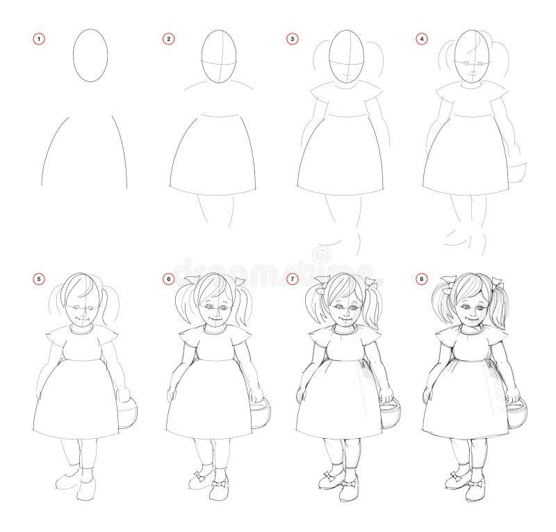 Tekening van het verwezenlijkings de geleidelijke potlood De pagina toont hoe te leren trekt schets van denkbeeldig leuk meisje royalty-vrije illustratie
