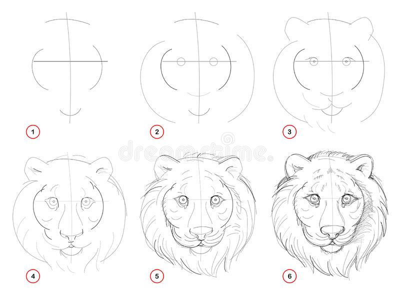 Tekening van het verwezenlijkings de geleidelijke potlood De pagina toont hoe te leren trekt schets van denkbeeldig leuk tijgersh royalty-vrije illustratie