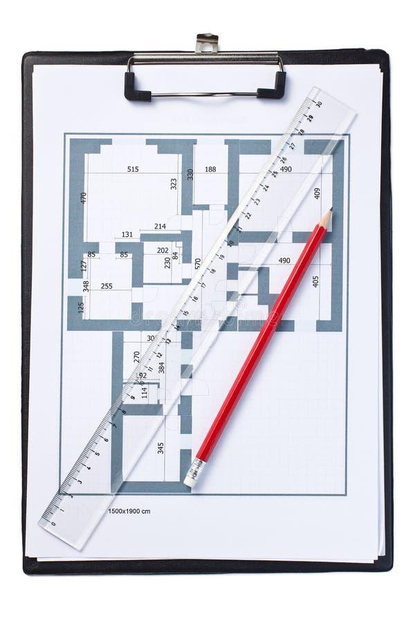 Tekening van huisplan stock fotografie
