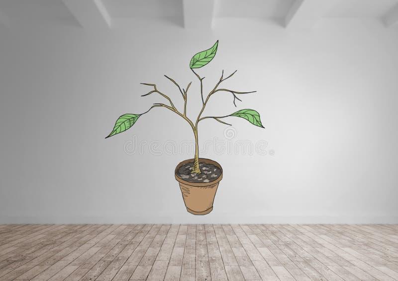 Tekening van Installatietakken en bladeren op muur stock illustratie