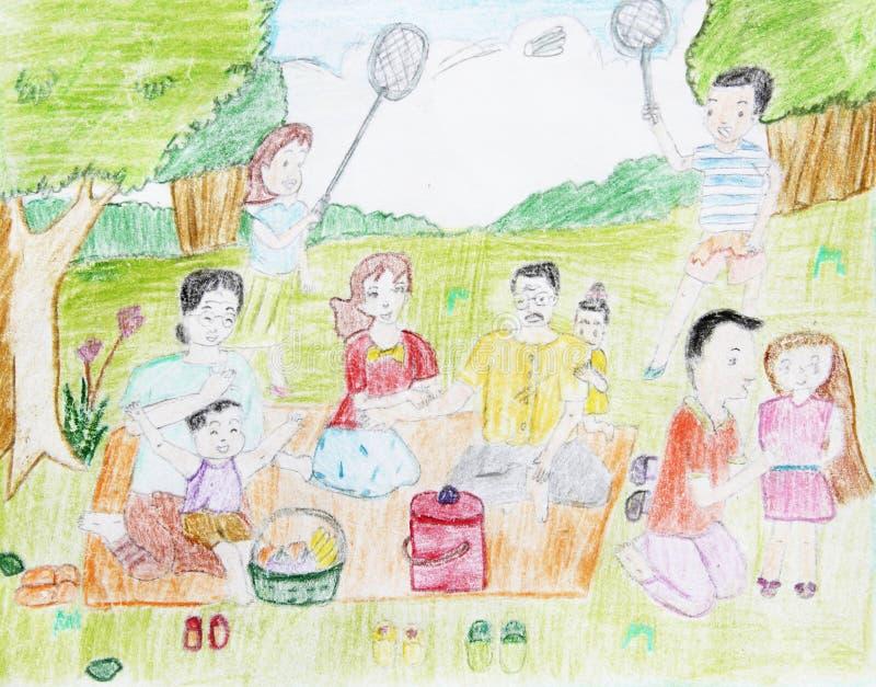 Tekening van kleurenpotlood stock afbeelding