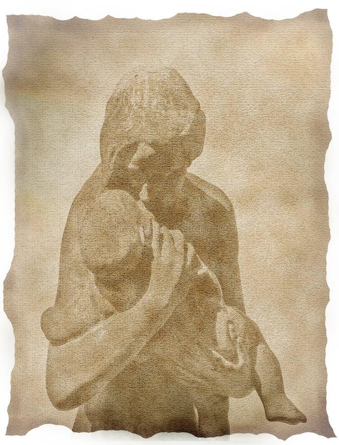 Tekening van moeder en kind stock illustratie