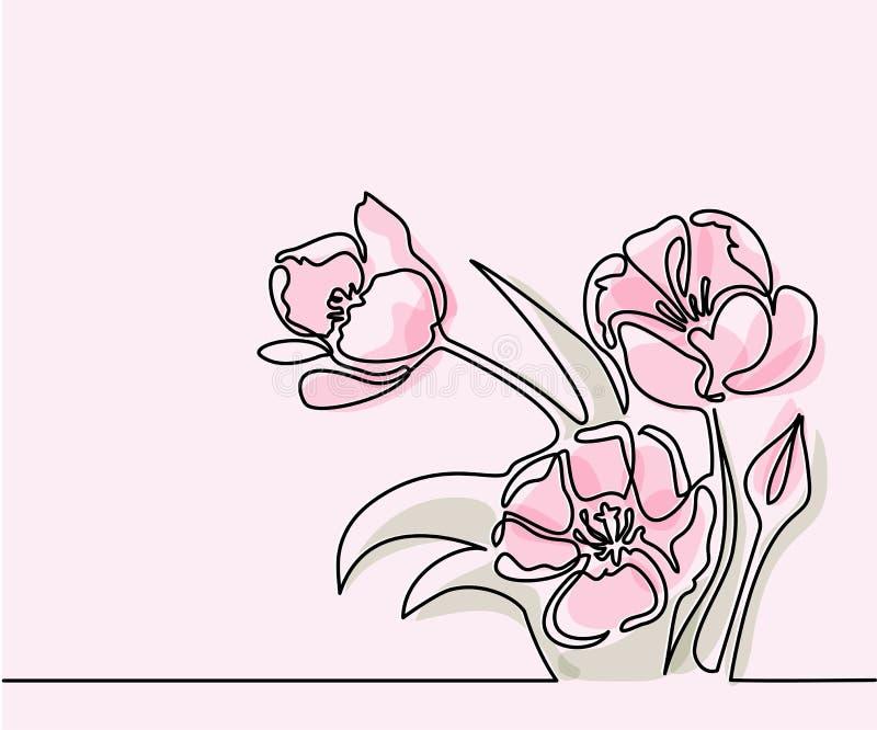 Tekening van mooie tulpenbloem stock illustratie