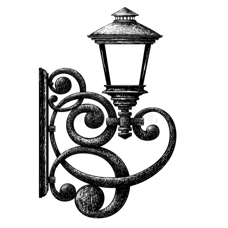 Tekening van retro stijlstraatlantaarn, lantaarnpaal, kandelaar royalty-vrije illustratie