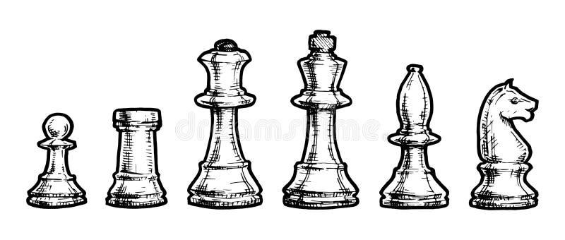 Tekening van schaak royalty-vrije illustratie