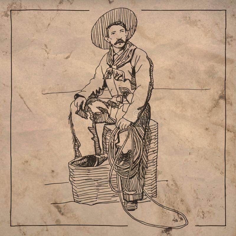 Tekening van zittingscowboy vector illustratie