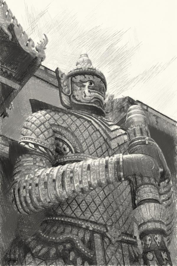Tekening zwart-wit van de reus in de publieke tempel in thailand stock illustratie