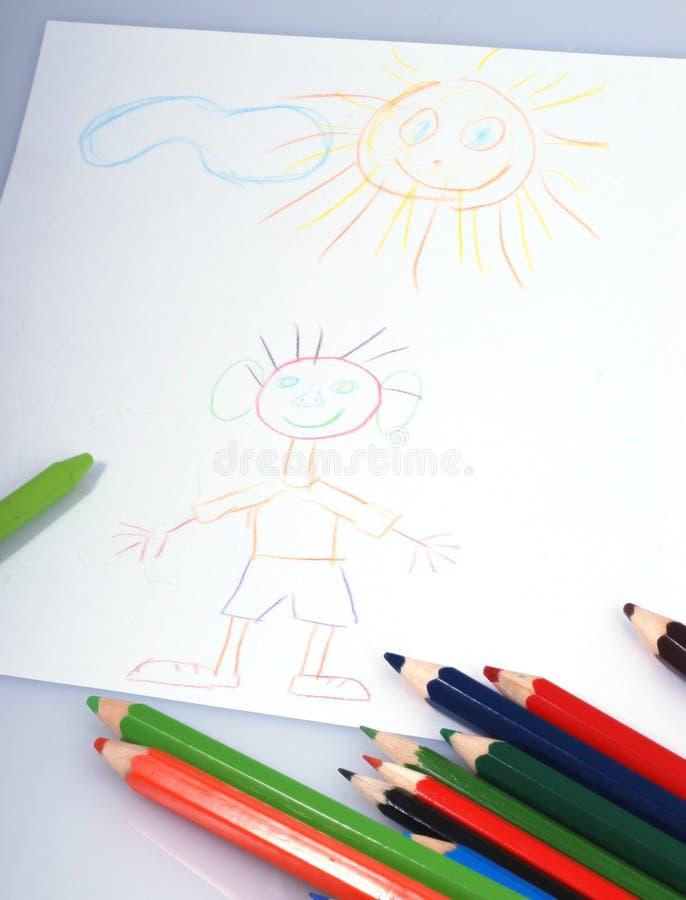 Tekeningen en kleurpotloden stock afbeelding
