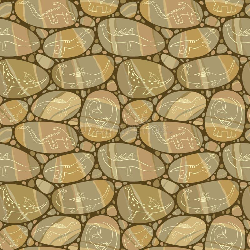 Tekeningen op de rotsen stock illustratie