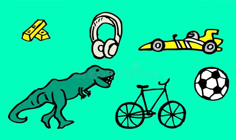 Tekeningen over hobbys met goudstaven en een snelle auto voor jonge geitjes ook beschikbaar als vectortekening vector illustratie