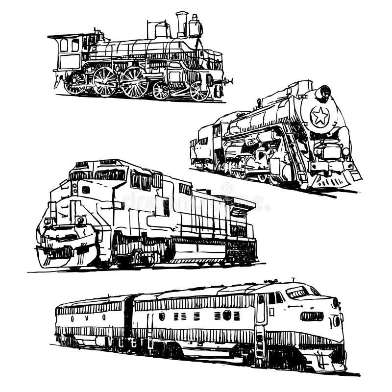 Tekeningen van treinen vector illustratie