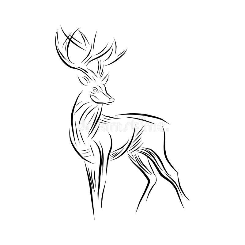 Tekenings abstracte herten voor elementenontwerp royalty-vrije illustratie
