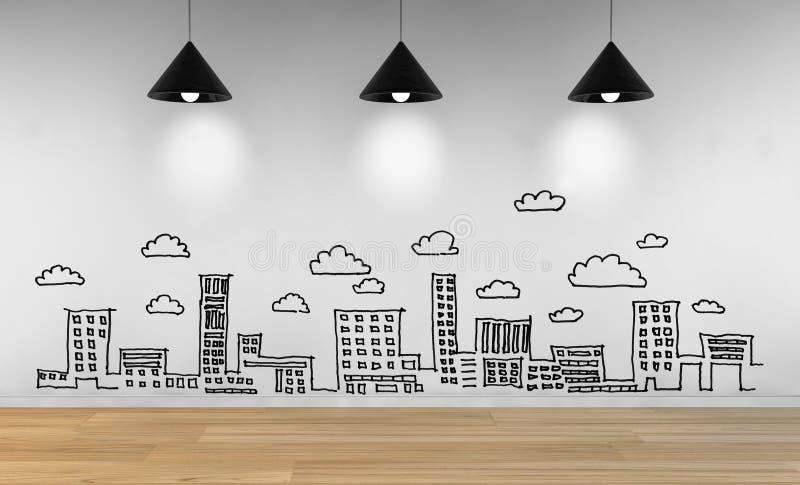 Tekenings bedrijfsconcept, stadshorizon vector illustratie