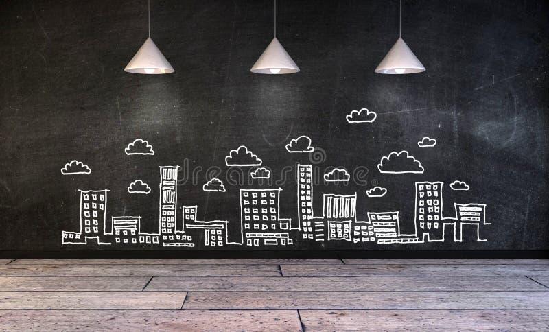 Tekenings bedrijfsconcept, stadshorizon op muur stock afbeelding