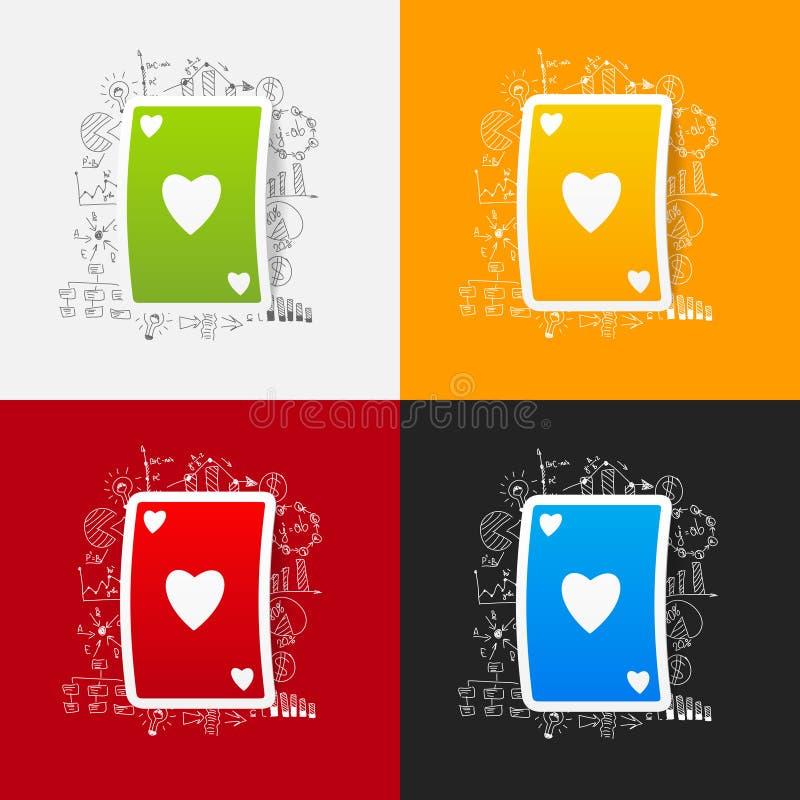Tekenings bedrijfsformules Speelkaart vector illustratie