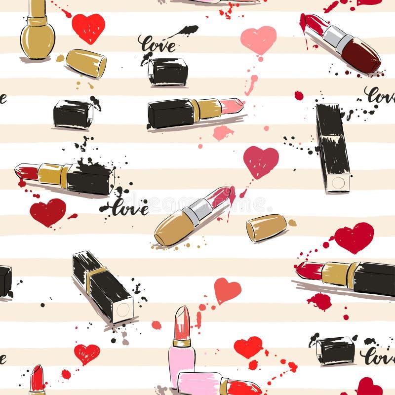 Tekenings vectorillustratie met lippenstift, harten en plonspai stock illustratie