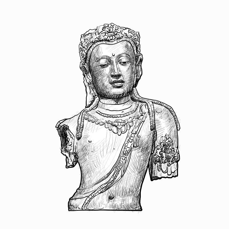 Tekeningshoofd van Bodhisattva vector illustratie