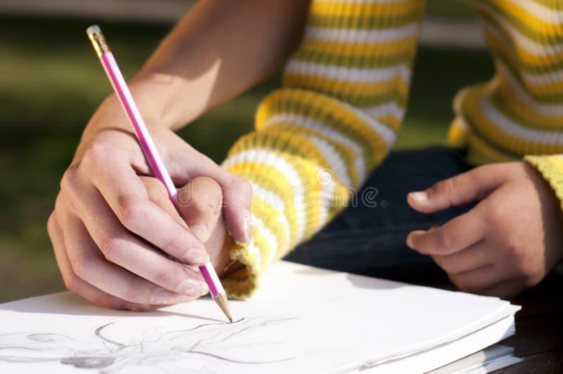 tekeningsles stock afbeelding