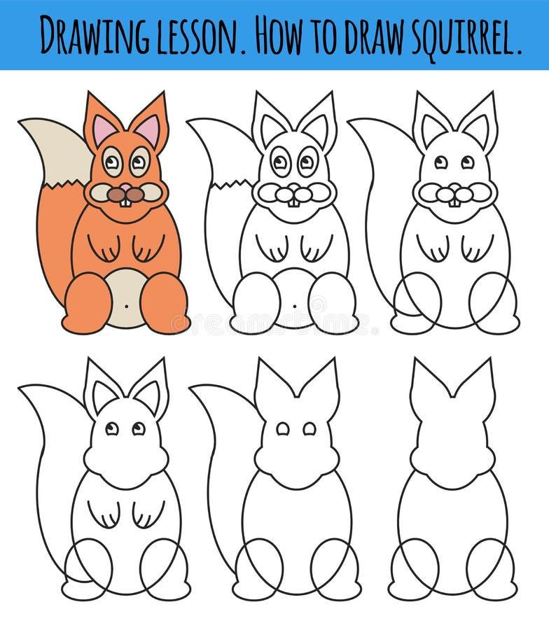 Tekeningsles voor kinderen Hoe een beeldverhaal leuke eekhoorn trek Tekeningsleerprogramma met grappig beeldverhaaldier Geleideli royalty-vrije illustratie