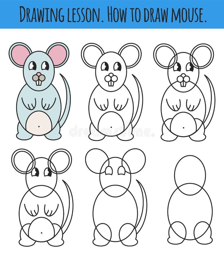 Tekeningsles voor kinderen Hoe een beeldverhaal leuke muis trek Tekeningsleerprogramma met grappig beeldverhaaldier Geleidelijke  royalty-vrije illustratie