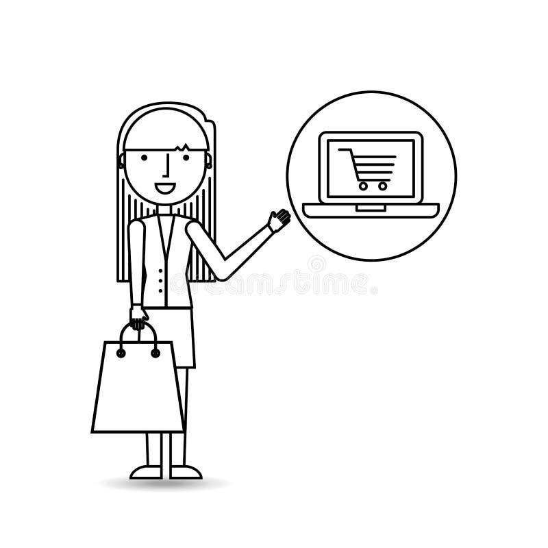 Tekeningsmeisje die met online laptop winkelen stock illustratie