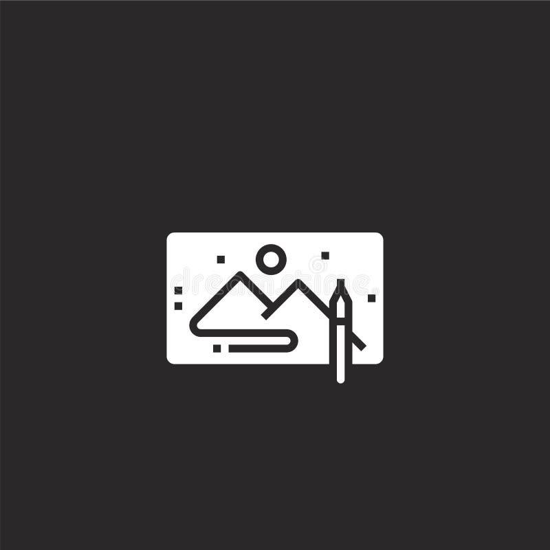 Tekeningspictogram Gevuld trekkend pictogram voor websiteontwerp en mobiel, app ontwikkeling tekeningspictogram van gevulde mobie royalty-vrije illustratie