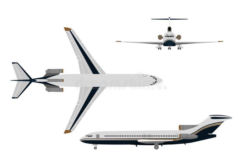 Tekeningsvliegtuig in een vlakke stijl op een witte achtergrond Bovenkant, voorzijde, vector illustratie
